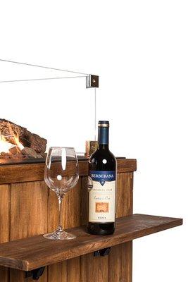 Happy Cocooning - houten side table met 2 poeder coated/poeder steunen KLEIN - 58x16,5x0,2 cm
